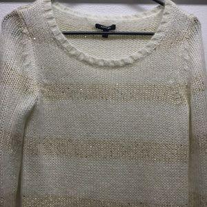 S Small APT 9 Kohl's ivory  sequin stripe sweater